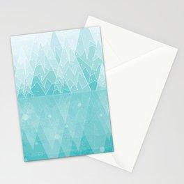 Geometric Lake Mountain IV - Winter Stationery Cards