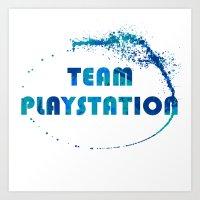 playstation Art Prints featuring Team Playstation by Bradley Bailey