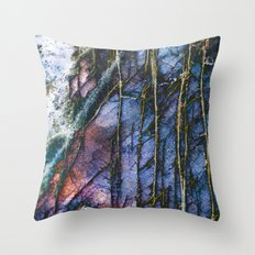 Snowy Forest Night Throw Pillow