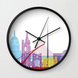 Dublin skyline pop Wall Clock