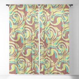 Ella - Retro Swirls Green Brown Sheer Curtain