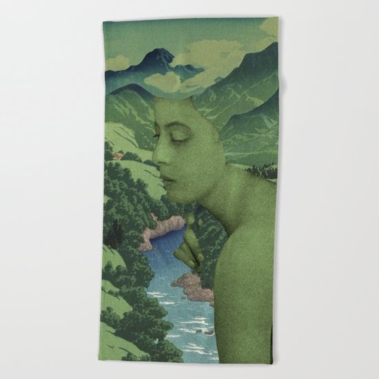 GREEN JEAN Beach Towel