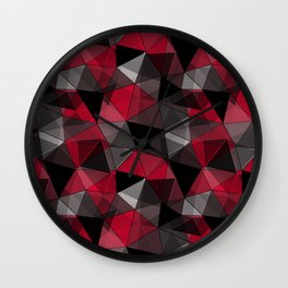 Abstract polygonal pattern.Red, black, grey triangles. Wall Clock