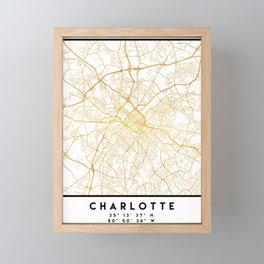 CHARLOTTE NORTH CAROLINA CITY STREET MAP ART Framed Mini Art Print