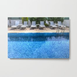 Summer Swimming Pool Metal Print
