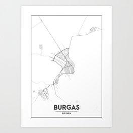 Minimal City Maps - Map Of Burgas, Bulgaria. Art Print