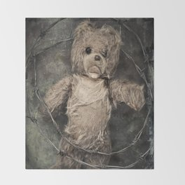 trapped teddy bear Throw Blanket