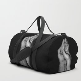 Father and child / Photograph of father and child hands pressed together Duffle Bag