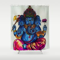 ganesh Shower Curtains featuring Ganesh by Hannah McKee