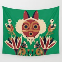 deco Wall Tapestries featuring Mono Deco by Ashley Hay