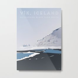 Vik Reynisfjara Black Sand Beach, Iceland Travel Poster Metal Print