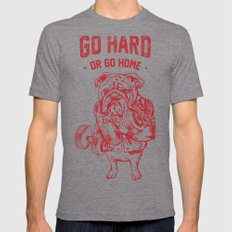 Go Hard or Go Home English Bulldog Tri-Grey SMALL Mens Fitted Tee