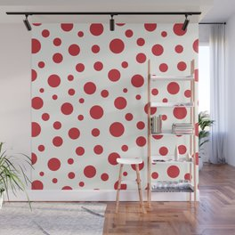 Red circles of different sizes over beige background Wall Mural