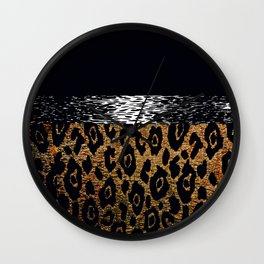 ANIMAL PRINT CHEETAH LEOPARD BLACK WHITE AND GOLDEN BROWN Wall Clock