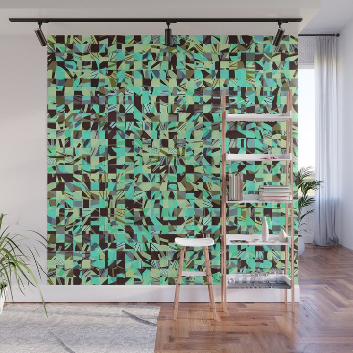 WILD THING GEO PATTERN BLUE GREEN Wall Mural
