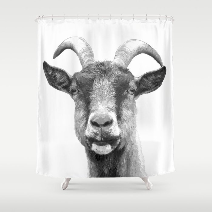 Black and White Goat Shower Curtain