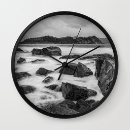 Rocky Ocean Black And White Wall Clock