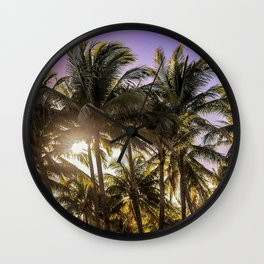 PURPLE AND GOLD SKIES Wall Clock