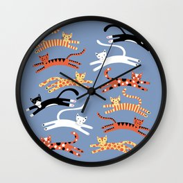 Cats Leaping Wall Clock