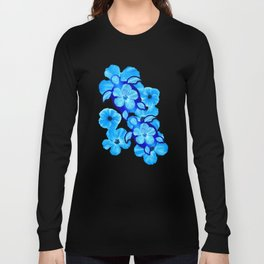 Blue Tropical Flowers And Honu Turtles Long Sleeve T-shirt