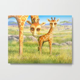 Giraffe and Calf Metal Print