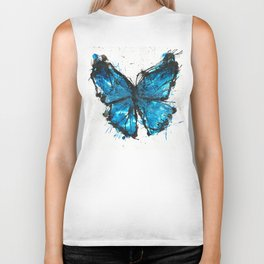 Blue butterfly ink splatter Biker Tank