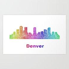Rainbow Denver skyline Art Print