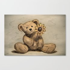 Teddybear with a sunflower Canvas Print