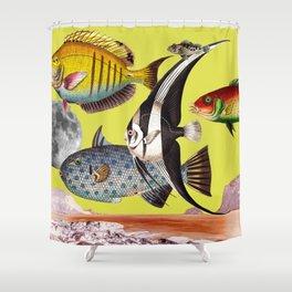 Fish World yellow Shower Curtain