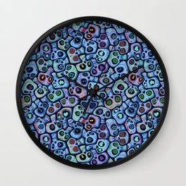 Calaveras del Dia de los Muertos azules. Wall Clock