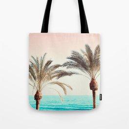Modern California Vibes pink sky blue seascape tropical palm tree beach photography Tote Bag