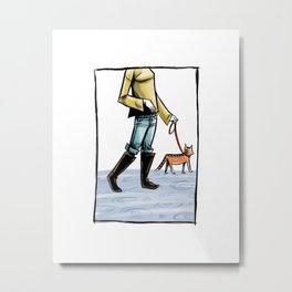 Takin' the Cat Out Metal Print