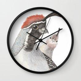 Funny Quail Art Wall Clock