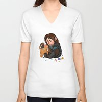 kili V-neck T-shirts featuring Kili and Kitten by Hattie Hedgehog