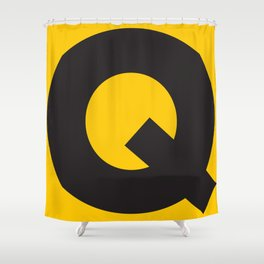 Sans Serif Q. Black on Yellow. Shower Curtain