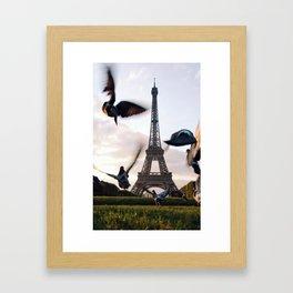 Paris Eiffel tower and flight of birds Framed Art Print