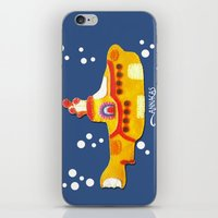 yellow submarine iPhone & iPod Skins featuring Fabric Yellow Submarine by AnnaCas