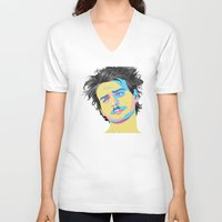 mac V-neck T-shirts featuring Mac Attack by Grace Teaney Art