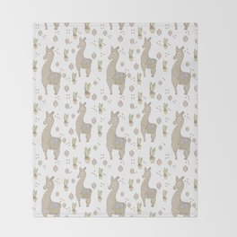 Llama and Cactus Pattern Throw Blanket