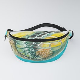 Sea Turtle Yellow Teal Watercolor Fanny Pack