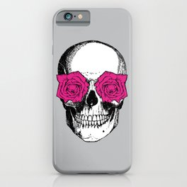 Skull and Roses | Skull and Flowers | Vintage Skull | Grey and Pink | iPhone Case