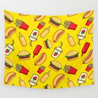 hamburger Wall Tapestries featuring tasty food by los_ojos_pardos