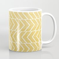 chevron Mugs featuring Yellow Chevron by Zeke Tucker