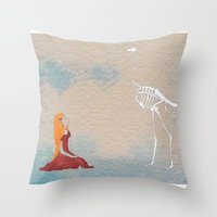 ostrich Throw Pillows featuring Ostrich by Leah Gonzales