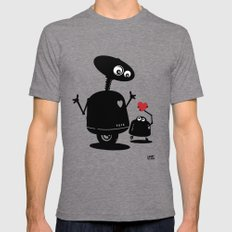 Robot Heart to Heart Tri-Grey Mens Fitted Tee LARGE