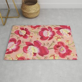 Cannonball Tree Pattern -Blush background Rug