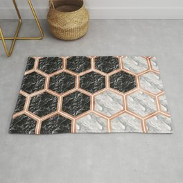 Geometric marble honeycomb - black & white Rug
