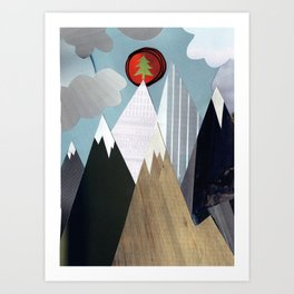 Mountaintop Christmas Tree Art Print