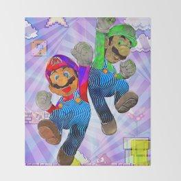 Pop Art Mario Brothers Throw Blanket