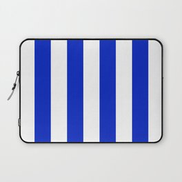 Cobalt Blue and White Wide Circus Tent Stripe Laptop Sleeve